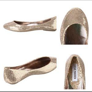 Steve Madden Gold Glittery Heaven Flats Size 8